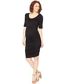 Motherhood Maternity Ruched Elbow-Sleeve Dress