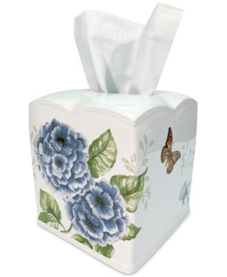 Blue Floral Garden  Tissue Holder