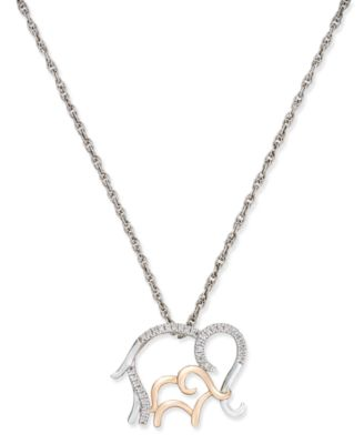 Diamond Family Elephant Pendant Necklace 110 ct tw in Sterling