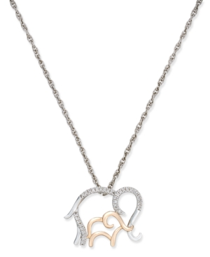 Diamond Family Elephant Pendant Necklace (1/10 ct. t.w.) in Sterling Silver and 14k Rose Gold