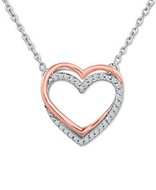Diamond (1/10 ct. t.w.) Double Heart Pendant Necklace in Sterling Silver with 14k Rose Gold Accents