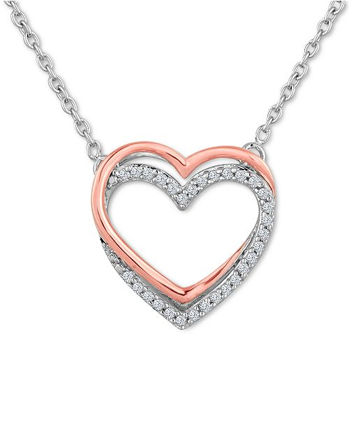 montana necklace heart with pendant silversmiths double cz crystal
