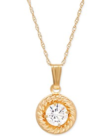 Cubic Zirconia Framed Pendant Necklace in 14k Gold