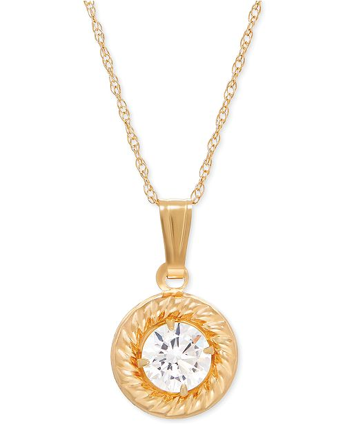 Macy's Cubic Zirconia Framed Pendant Necklace in 14k Gold