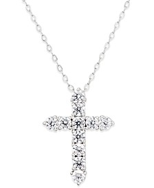 Silver-Tone Crystal Cross Pendant Necklace, Created for Macy's