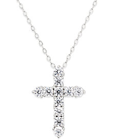 Danori Silver-Tone Crystal Cross Pendant Necklace, Created for Macy's
