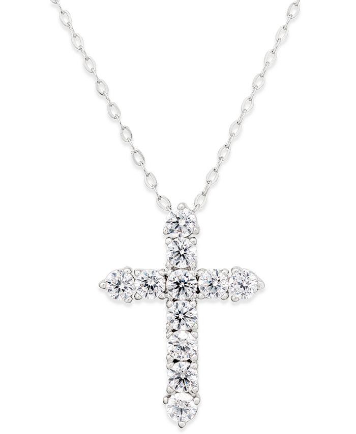 Eliot Danori - Silver-Tone Crystal Cross Pendant Necklace