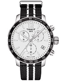 Tissot Unisex Swiss Chronograph San Antonio Spurs Quickster Black and White Strap Watch 42mm T0954171703707