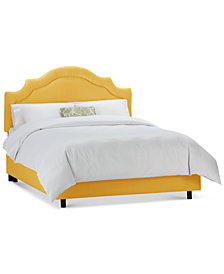 Jace California King Shirred Notched Bed, Quick Ship