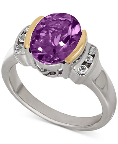 Amethyst (2-3/8 ct. t.w.) and White Topaz (1/10 ct. t.w.) Two-Tone Ring in Sterling Silver with 14k Gold Accents