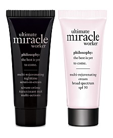 Receive a Free Ultimate Miracle Worker Day & Night Deluxe Duo with any $50 philosophy purchase