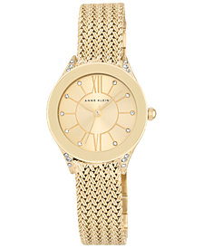 Anne Klein Women's Gold-Tone Stainless Steel Mesh Bracelet Watch 30mm AK-2208CHGB