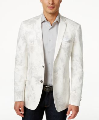 Tallia Slim-Fit Men's White Floral Sport Coat - Blazers & Sport ...
