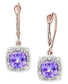 Tanzanite (3-1/5 ct. t.w.) and Diamond (1/2 ct. t.w.) Square Halo Drop Earrings in 14k Rose Gold