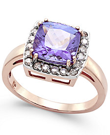 Tanzanite (2-5/8 ct. t.w.) and Diamond (1/3 ct. t.w.) Square Halo Ring in 14k Rose Gold