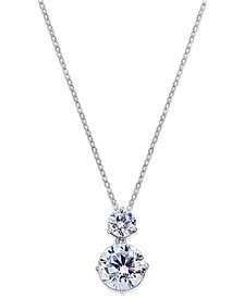 Danori Silver-Tone Cubic Zirconia Double Pendant Necklace, Created for Macy's