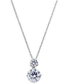 Danori Silver-Tone Cubic Zirconia Double Pendant Necklace, Created for Macy's