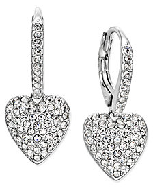 Danori Pavé Heart Drop Earrings, Created for Macy's