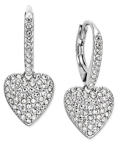 Danori Pavé Heart Drop Earrings, Created for Macy's