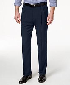 Men's Texture Weave Classic Fit Pleated Hidden Expandable Waistband Dress Pants