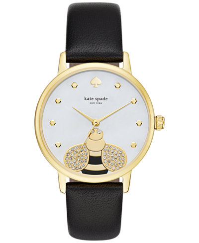 kate spade new york Women's Metro Black Leather Strap Watch 34mm KSW1082