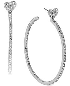Betsey Johnson Medium Silver-Tone Crystal Heart Hoop Earrings