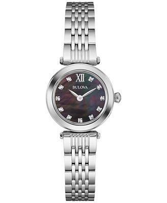 Bulova Women's Diamond Accent Stainless Steel Bracelet Watch 24mm 96P169
