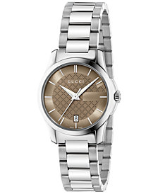 Gucci Women's Swiss G-Timeless Stainless Steel Bracelet Watch 27mm YA126526