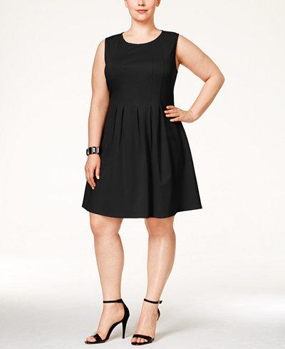 Monteau Trendy Plus Size Pleated A-Line Dress - Dresses - Plus ...