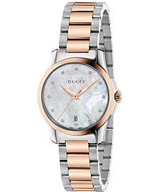 Gucci Women's Swiss G-Timeless Diamond Accent Two-Tone PVD Stainless Steel Bracelet Watch 27mm YA126544