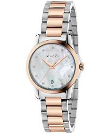 Gucci Women's Swiss G-Timeless Diamond Accent Two-Tone PVD Stainless Steel Bracelet Watch 27mm YA126544