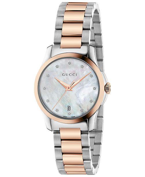 3fbf8bcbe3f ... Gucci Women s Swiss G-Timeless Diamond Accent Two-Tone PVD Stainless  Steel Bracelet Watch ...
