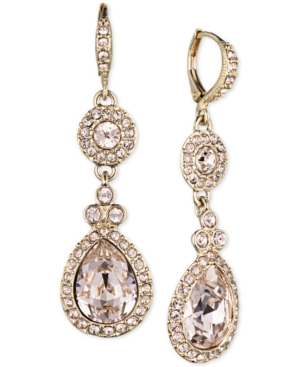 Givenchy Jewelry SILVER-TONE SWAROVSKI ELEMENT DOUBLE DROP EARRINGS