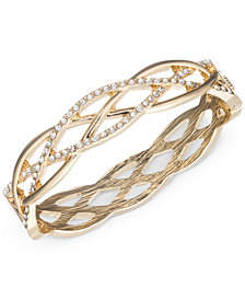 Anne Klein Gold Tone Braided Style Pavé Bangle Bracelet Created For Macy S
