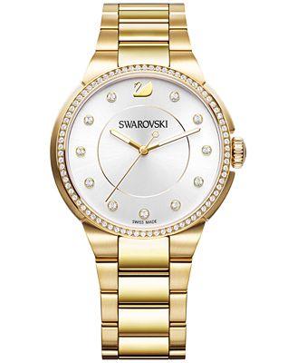 Swarovski Women's Swiss City Crystal Accent Gold-Tone Stainless Steel Bracelet Watch 38mm