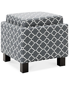 Kylee Fabric Grey Accent Storage Ottoman, Quick Ship