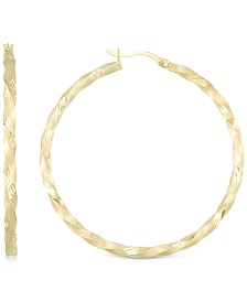 Twisted Satin Finished Round Hoop Earrings in 14k Gold Over Sterling Silver