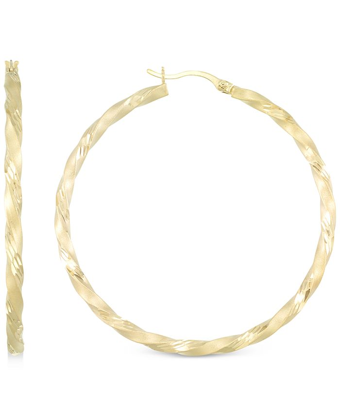 Macy's - Twisted Satin Finished Round Hoop Earrings in 14k Gold Over Sterling Silver