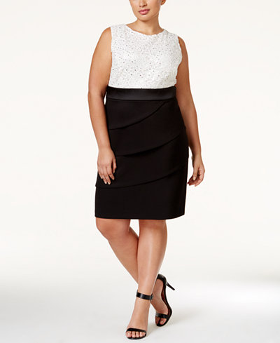 Connected Plus Size Colorblocked Sequined Tiered Dress