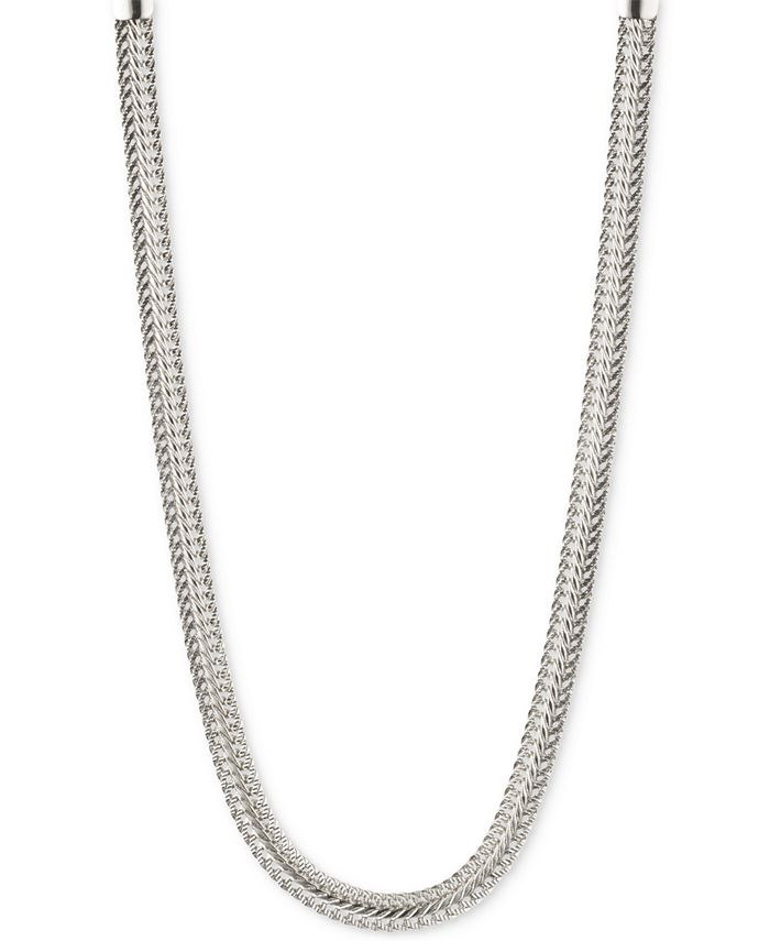 Anne Klein - Silver-Tone Flat Chain Necklace