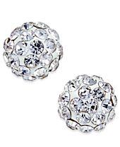 Crystal Ball Stud Earrings in 10K White Gold