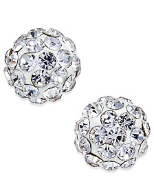 Crystal Ball Stud Earrings in 10K White Gold