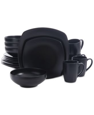 Signature Living 16-Pc. Majorca Matte Glaze Black Square Dinnerware Set  sc 1 st  Macy\u0027s : signature living dinnerware - pezcame.com