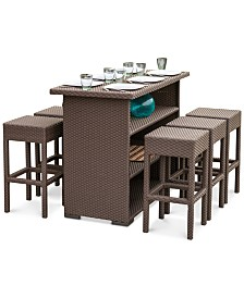 Kirton 7-Pc. Brown Resin Wicker Bar Set, Quick Ship