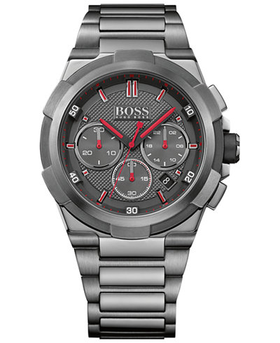BOSS Hugo Boss Men's Chronograph Supernova Black Ion-Plated Stainless Steel Bracelet Watch 46mm 1513...