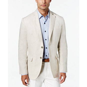 Tasso Elba Mens Linen 2-Button Blazer