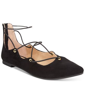 Material Girl Ibby Lace-Up Flats, Only at Macy's