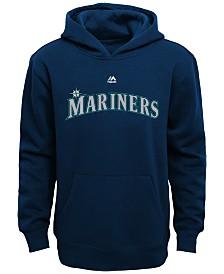Majestic Kids' Seattle Mariners Wordmark Fleece Hoodie, Big Boys (8-20)