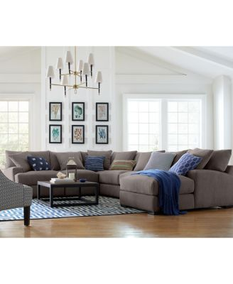Rhyder 5-Pc. Fabric Sectional Sofa with Chaise, Created for Macy's