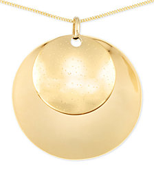 Polished Double Medallion Long Length Pendant Necklace in 14k Vermeil